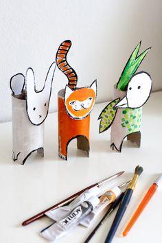 UKKONOOA: Pahvieläimet kierrätysmateriaalista / Recycled Cardboard Animals - cute kids craft to do with cardboard tubes Cardboard Animals, Cardboard Crafts, Paper Crafts, Paper Animals, Cardboard Tubes, Diy Paper, Toilet Paper Roll Art, Rolled Paper Art, Projects For Kids