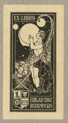 Bookplate of Edgar Rice Burroughs, an American author, best known for his creation of the jungle hero Tarzan and the heroic Mars adventurer John Carter, although he produced works in many genres.