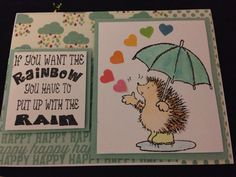 Handmade card by me!  Penny black stamps.