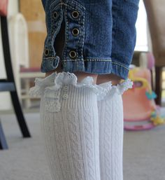 White Girls Socks High Knee Crochet Lace and Buttons by Eastalace, $13.95 Girls Knee High Socks, Girls Socks, High Knees, White Girls, Leg Warmers, Crochet Lace, Buttons, Boots, Color