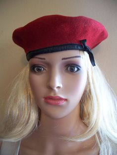 Red German Military Beret by ditchrosevintage on Etsy