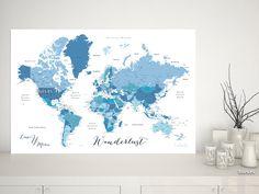 Ethan: Mapamundi personalizado para marcar viajes, tonos azules #DigitalDownload #CitaPersonalizada #IdeaRegalo #mapa #corchera #MapaMundialParaChinchetas #MapaParaChincheta #azul #MapaParaChinchetas #corkboard #MapaDelMundo #MapaMundiTipoCorcho #AzulMarino #aventuras #MapaParaClavarChinchetas