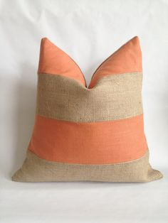 Burnt Orange Linen/Cotton Fabric and Natural by BouteilleChic