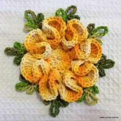Flor camélia passo a passo   Croche.com.br PHOTO TUTORIAL PATTERN FOR FLOWER
