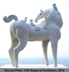 """""""White Mare With Birds"""" Second Prize, SA Ceramic KZN Regional Ceramic Exhibition 2010 at ArtSpace Gallery, Durban South Africa."""