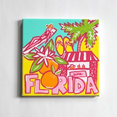 Lilly State of Mind Florida canvas by ColorOnTheWalls on Etsy Diy Canvas, Canvas Art, Canvas Ideas, Sorority Crafts, Painting Inspiration, Room Inspiration, Bird Art, Diy Painting, Diy And Crafts
