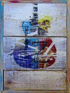 Jazz Guitar Rustic Wall Art