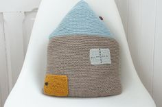 Adorable knitted house cushion. Made by how sweet to be cloud. http://howsweettobeacloud.bigcartel.com/products