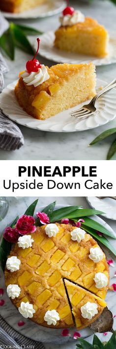 The only Pineapple Upside Down Cake recipe you'll ever need! Made with a topping of fresh pineapple pieces coated in a sweet buttery, brown sugar topping. Underneath lies a tender homemade vanilla cake, and atop it's finished with fluffy whipped cream and Pineapple Recipes, Fruit Recipes, Baking Recipes, Cake Recipes, Dessert Recipes, Desserts Ostern, Köstliche Desserts, Delicious Desserts, Homemade Vanilla Cake
