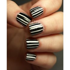 31DC2012 Day 7 Black and White Nails ❤ liked on Polyvore