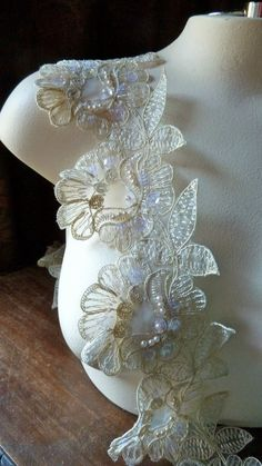 Beaded Lace Applique 5 Flowers Trim in Champagne by MaryNotMartha