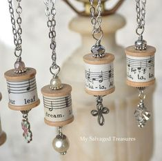 I played with old thread spools and music sheets again. - I played with old thread spools and music sheets again. This … # thread spools - Wooden Spool Crafts, Wooden Spools, Cork Crafts, Jewelry Crafts, Handmade Jewelry, Recycled Jewelry, Jewelry Tree, Wine Cork Jewelry, Unique Jewelry