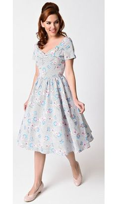 """We put together a collection of our favorite pinup picks (like this!) and made them 20% off! Just enter code SRSLY for a limited time. Exclusive Unique Vintage x Erstwilder """"Rollin' with Katie"""" Dress"""