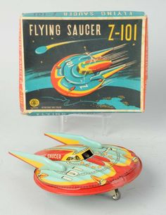 Japanese Tin Litho Flying Saucer Z - : Lot 0598 Vintage Robots, Vintage Toys, Vintage Games, Metal Toys, Tin Toys, Atomic Decor, Retro Rocket, Space Toys, Vintage Space