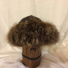 Beautiful Mongolian, Russian, Cossack, Norse, Celtic, brown leather hat with brown two toned fox fur