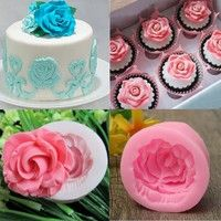 Buy Home&Living Silicone Rose Flower Fondant Cake Chocolate Sugarcraft Mould Mold Tool at Home - Design & Decor Shopping Creative Cake Decorating, Cake Decorating Tools, Creative Cakes, Fondant Molds, Cake Mold, Fondant Cakes, Chocolate Molds, Chocolate Cake, Baking Chocolate