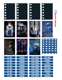 """Dr.Who """"sticker kit"""" full boxes and headers Free THP (the happy planner by MAMBI) sticker. Free printable sticker layout may be subject to copyright not intended for retail; personal use only"""