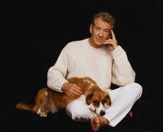 Sir Ian McKellen with dog.