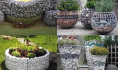 small architectural forms made of gabions