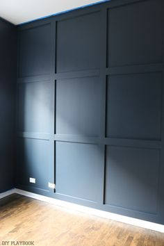 Haus pläne diy_wood_wall_painted_navy_progress_office Should You Get Help With Your Home Heating Pla Navy Accent Walls, Navy Walls, Accent Wall Bedroom, Bedroom Wall Designs, Painted Wood Walls, Wood Panel Walls, Diy Wall Panel, Wood On Walls, Decorative Wall Panels