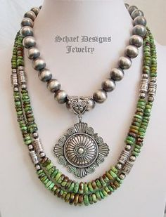 Schaef Designs High end green turuqoise & Sterling Silver Tube Bead Necklace set | Tommy Singer inspired | online upscale native american & southwestern jewelry boutique gallery| Schaef Designs Southwestern turquoise Jewelry | New Mexico