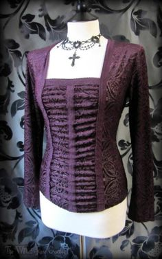 Gothic Romantic Burgundy Paisley Velvet Devore Lace Corset Style Top 10 Elegant | THE WILTED ROSE GARDEN
