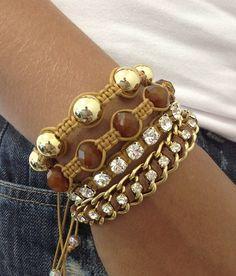 Macrame shamballa bracelets. Love the bling.