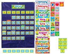 Amazon.com : Carson Dellosa Deluxe Calendar Pocket Chart (158156) : Classroom Pocket Charts : Office Products