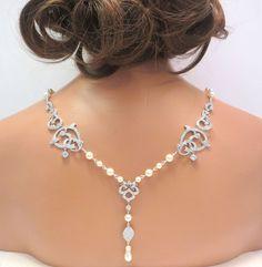 Collier de mariée toile de fond, les dos collier mariage, bijoux de mariée, collier strass, collier de perles, collier déclaration, CZ collier