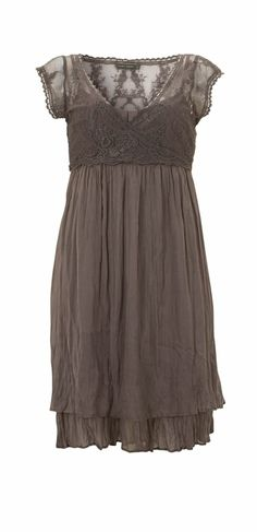 pretty dark grey empire waist dress