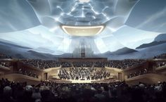 The China Philharmonic Orchestra has revealed MAD Architects' design of the new China Philharmonic Hall. The concert hall was designed in collaboration with renowned acoustic expert Yasuhisa Toyota, and will be the orchestra's first permanent Walt Disney Concert Hall, New China, Through Time And Space, Central Business District, Hall Design, Theatre Design, Facade Architecture, Landscape Architecture, Theater Architecture