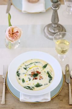 Spinach & Asparagus Soup for Spring with Bunny & Easter Table Setting & Centerpiece http://jennysteffens.blogspot.com/2012/03/bunny-baby-shower-idea.html
