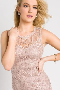 Sleeveless Lace Bodycon Dress - Champagne