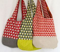 Reversible Shoulder Bag - hand made using new, vintage and reclaimed fabrics.