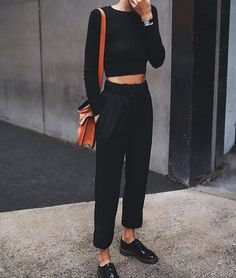 e299aa3e1c0 High + Black Trousers.  HighWaisted  FallFashion  WorkAttire  StreetStyle  Estilo Swag