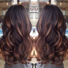 Started with golden caramel balayage'd lights on her dark brown hair done by lemastyyles. by denise.su