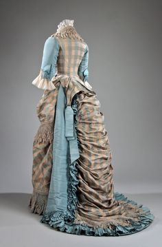 I've always been a fan of soft blue used in (or with) plaid, as it was in this beautiful Victorian dress from 1873. #dress #Victorian #19th_century #1800s #photograph #antique #vintage #historical #costume