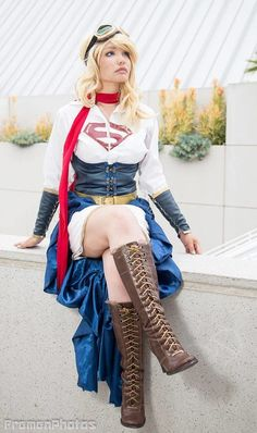 """Steampunk Supergirl (Comic Book Superheroes and Villains), from """"Steampunk Your Halloween Costume"""" by SteampunkFashionGuide"""