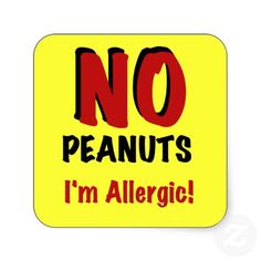 NO Peanuts I Am Allergic Sticker #nut allergies #peanut allergy #allergies