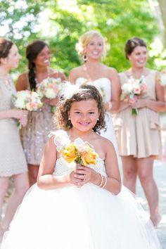 Flower Girl in Tulle Dress // Peach, White + Gold Hilton Head Island SC Wedding // Dana Cubbage Weddings // Charleston SC + Destination Wedding Photographer