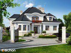 Residence projekt v Myślenice 2 Styling 3 Bungalow Style House, Bungalow Haus Design, Village House Design, Village Houses, Dream House Plans, Modern House Plans, Architecture Plan, Residential Architecture, House Design Pictures