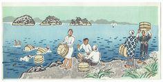 """""""Abalone Divers on Shore"""" by Nisaburo Ito (1910 - 1988); Japanese woodblock print #japan #art #japanese #handmade #printart #diver"""