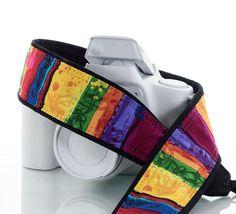 Rainbow Camera Strap, dSLR, SLR, Mirrorless, Pocket, Canon camera strap, Nikon camera strap, Photographer Gift, Camera, 217 w