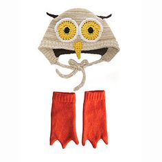 Knitted Owl Hat And Booties Set, notonthehighstreet.com