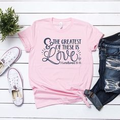 The Greatest of all is Love Valentines Christian shirt, crew or v-neck, Women's Valetines Tee, Christian Graphic Tee, Valentines graphic tee Valentine's Day Outfit, Outfit Ideas, Christian Shirts, Direct To Garment Printer, Seersucker, Shirt Style, Graphic Tees, T Shirt, Cute Outfits