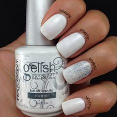 White Summer Gelish Manicure #nailart #nails #mani