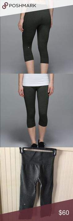 Seamlessly Street Crops Lululemon Seamlessly Street Crops. Not 100% sure if these are a 2 or a 4 but I provided the measurements. I believe these are a 2 !! Worn twice. These are wayyy to small and short for me. The color is Gator Green ! lululemon athletica Pants Leggings