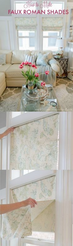 Fake a roman shade in minutes. Great hack for renters or those who like to change out decor frequently. How to Make Faux Roman Shades by Home Stories A to Z.
