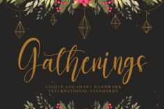 Gatherings is an exquisite and cursive script font. Dainty and joyful, this font will be ideal for writing wedding invitations,... Cursive Script, Modern Script Font, Elegant Fonts, How To Write Wedding Invitations, Adobe Indesign, Adobe Photoshop, Joyful, Elegant Wedding, Product Packaging