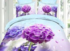 Delicate Purple Hydrangea Print 4-Piece Cotton Duvet Cover Sets - beddinginn.com